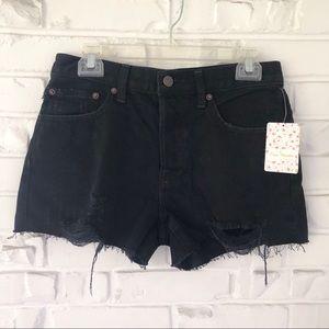 Free People Mid Rise Black Denim Shorts Sz 27 NWT